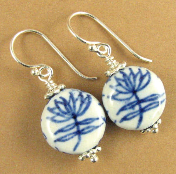 Chinese ceramic bead earrings. Flower. Blue & white. Sterling silver 925.