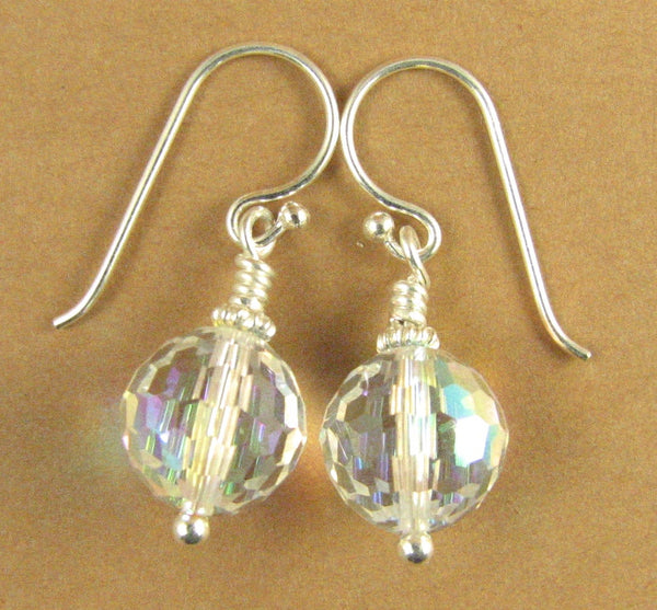 Large crystal rainbow disco ball earrings. Aurora borealis. Made with Swarovski Elements. Silver 925.
