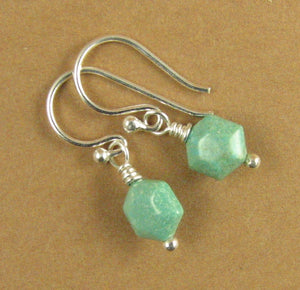 Tiny turquoise earrings. Blue green. Real stone. Sterling silver 925. Handmade.