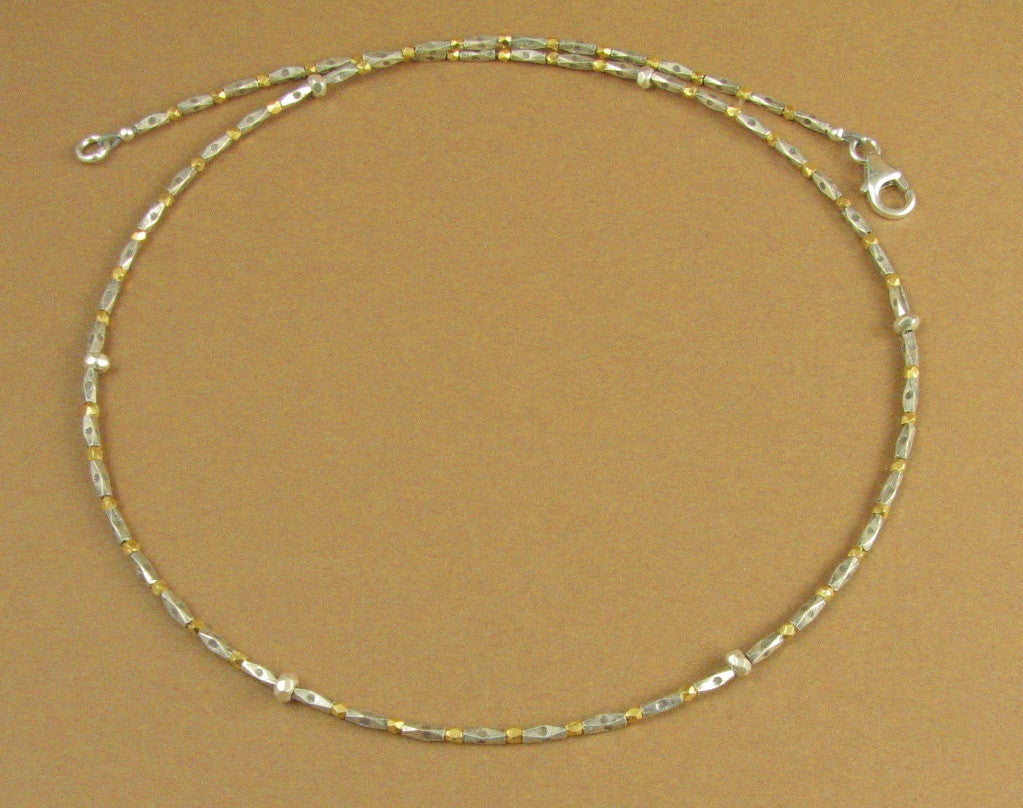 Gold and silver slim necklace. Real gold. Fine & sterling silver 925.Handmade.