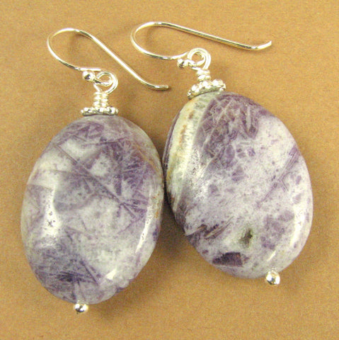 Charoite stone earrings. Large. Purple mauve lavender. Sterling silver 925.