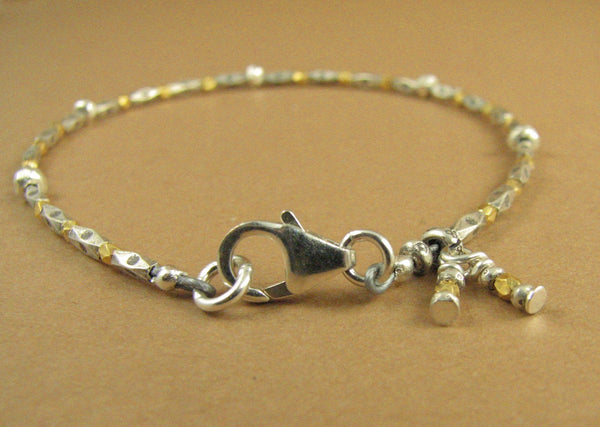 Gold and silver bracelet. Real gold. Fine & sterling silver 925. Charm.Handmade.