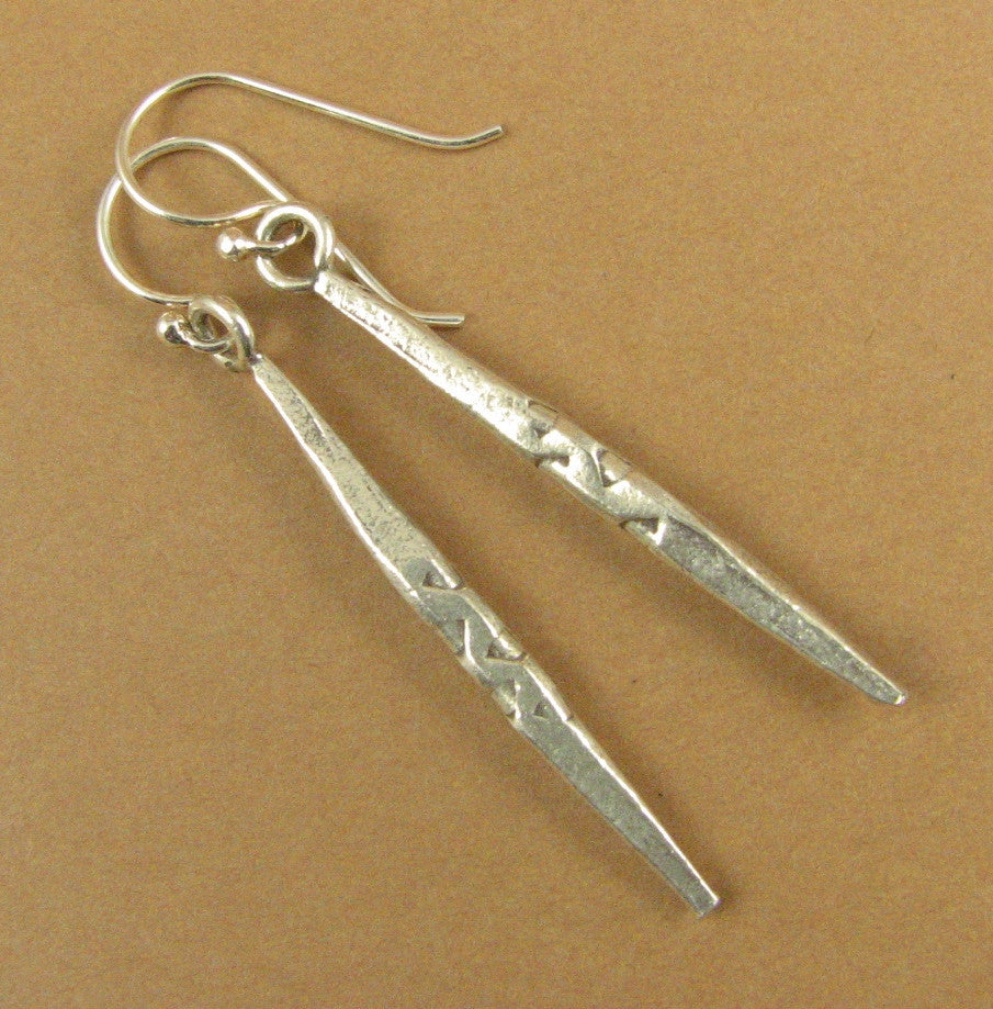 Long thin silver dangle earrings. Slim. Flat. Sterling silver 925.Handmade