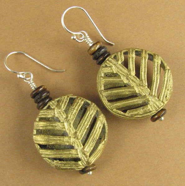 Large African bead earrings. Round disc. Brass. sterling silver 925. Handmade.