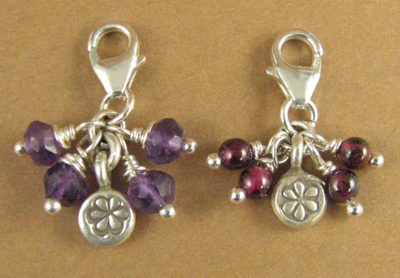 Cluster clip-on charm. Red garnet or amethyst. Flower. Sterling silver 925.Handmade.