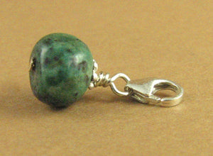 Turquoise stone clip-on charm. Pebble.Blue-green. Sterling silver 925. Handmade.