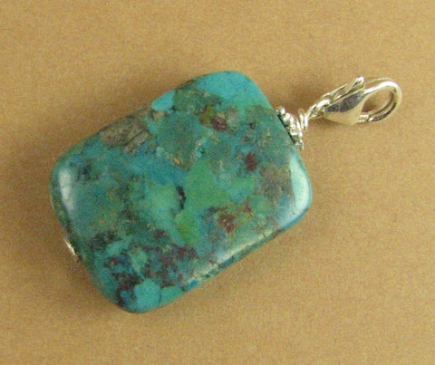 Turquoise stone clip on charm. Flat square. Large. Sterling silver 925. Handmade