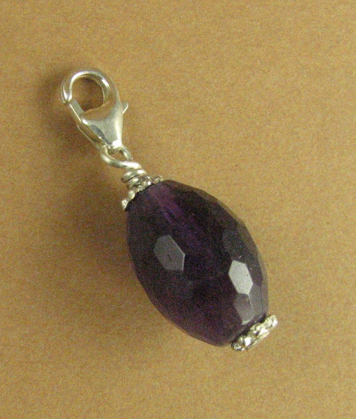 Large Amethyst clip-on charm. Faceted. Purple. Sterling silver 925. Handmade.