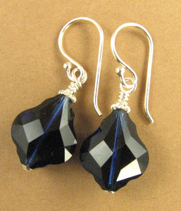 Baroque crystal blue earrings made w/ Swarovski Elements. Big. Sterling silver 925.