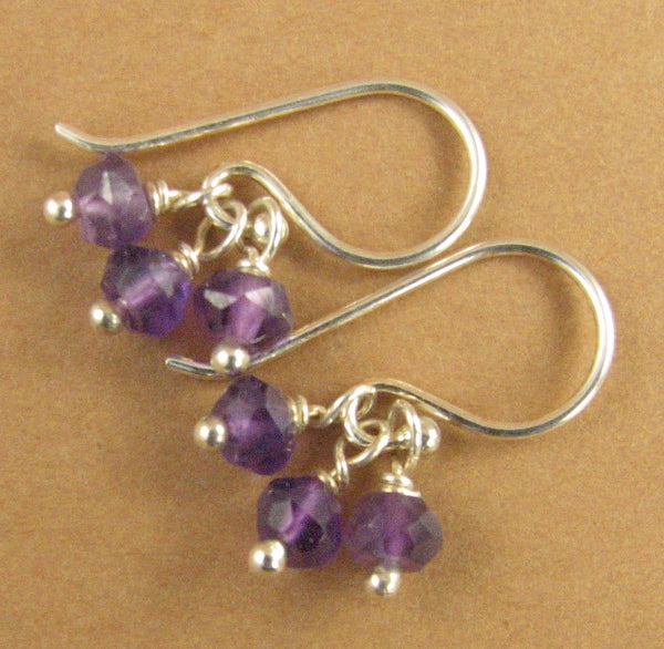Amethyst cluster earrings. Small. 3 stones. Sterling silver 925. Handmade.
