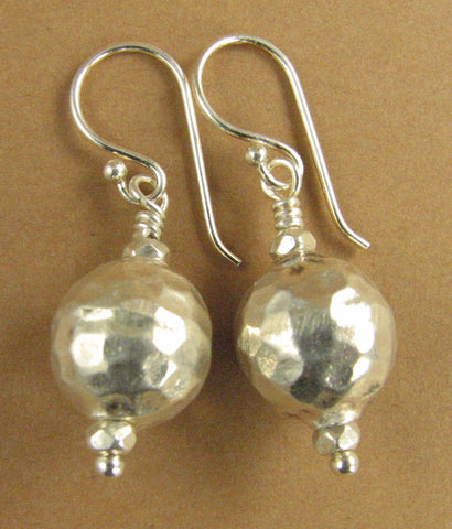 Round ball hammered earrings. Sterling silver 925. Tribal. Handmade.
