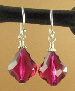 Big ruby red crystal Baroque earrings made w/ Swarovski Elements.Sterling silver