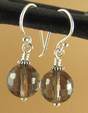 Smoky quartz round faceted earrings. Large brown. Sterling silver 925. Handmade