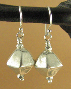 Silver earrings, multi sided shape. Handmade. Tribal. Sterling silver 925.