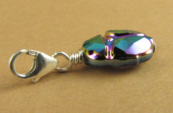 Scarab beetle crystal clip on charm. Sterling silver. Made w/ Swarovski Elements.