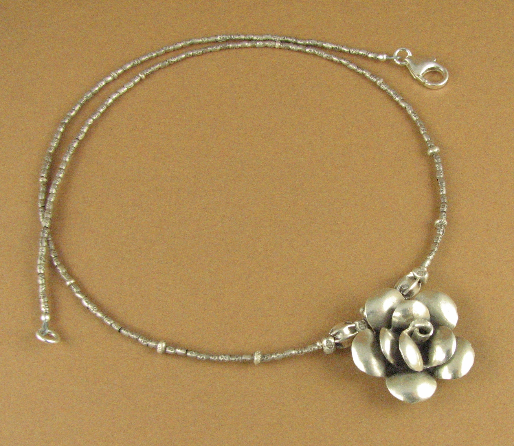 Rose flower necklace. Fine and sterling silver 925. Tribal silver.  Handmade.