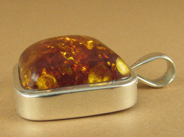 Amber pendant. Sparkly. Square. Genuine Russian amber. Sterling silver 925.