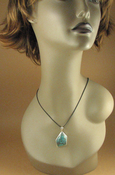 Turquoise stone pendant. Asymmetric. Blue, green. Sterling silver 925.