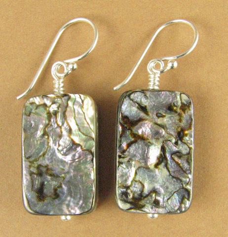 Large abalone powa shell earrings. Green purple. Sterling silver hooks 925.