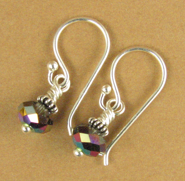 Crystal scarabaeus rainbow earrings. Sparkly. Purple, green. Silver 925. Made w/Swarovski Elements