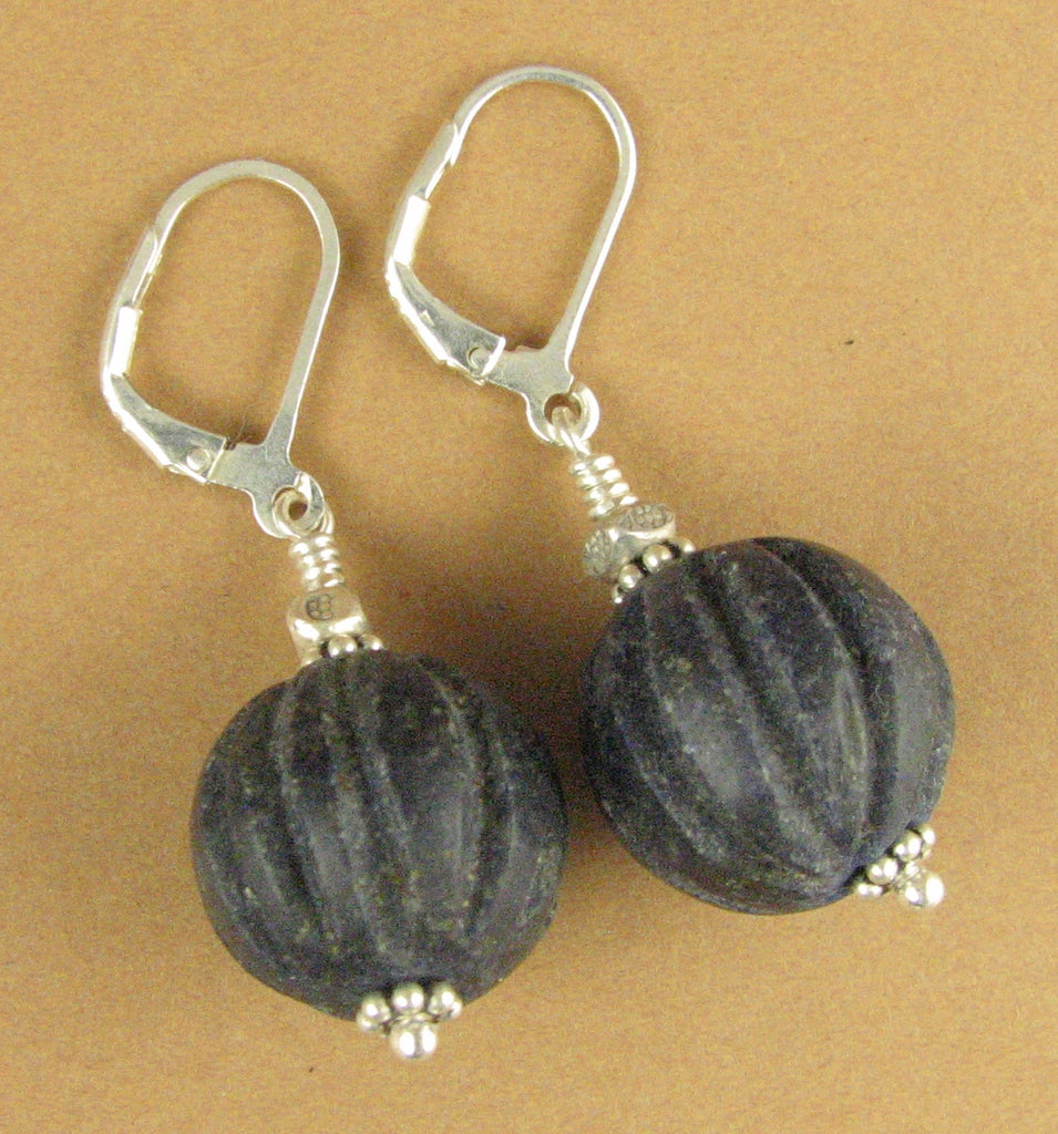 Lapis lazuli round earrings. Unpolished, blue. Carved. Lever back hooks. Sterling silver 925.