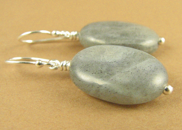 Labradorite large earrings. Blue/green. Fire. Sterling silver 925. Handmade