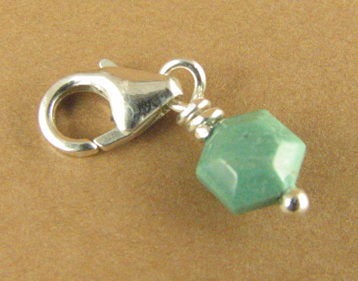Tiny turquoise stone clip-on charm. Green-blue. Sterling silver 925. Handmade.
