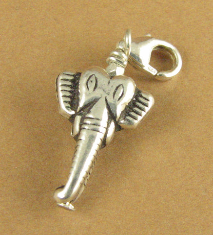 Elephant clip-on charm. Elephant face. Lobster clasp. Sterling silver 925.