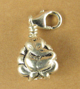 Ganesh clip-on charm. Indian elephant God. Lobster clasp. Sterling silver 925.