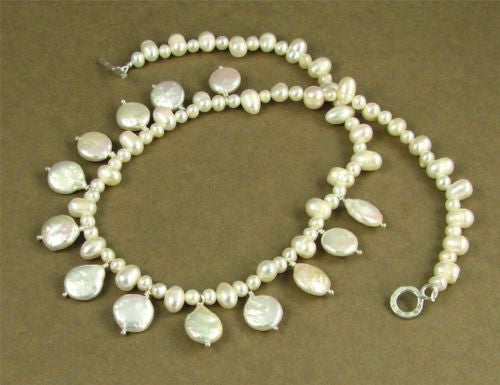 Pearl necklace & earrings set. Fine and sterling silver. Designer handmade.