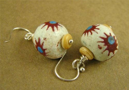 African ceramic bead earrings. Flowers. Drop/dangle. Sterling silver. Handmade.