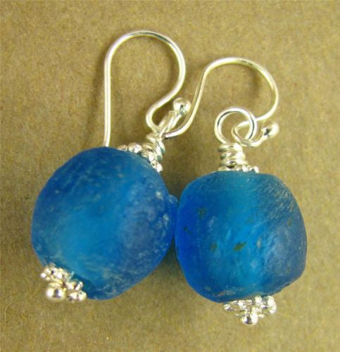 Bright blue African glass earrings. Sterling silver. Handmade.