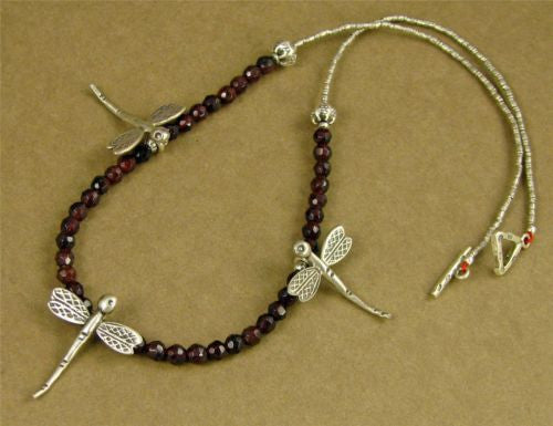 Dragonfly and garnet necklace. Fine silver. Designer handmade.
