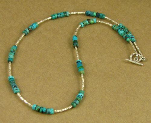 Turquoise and silver necklace. Fine silver. Designer handmade.