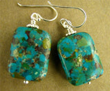 Turquoise and silver earrings. Sterling silver. Designer handmade.