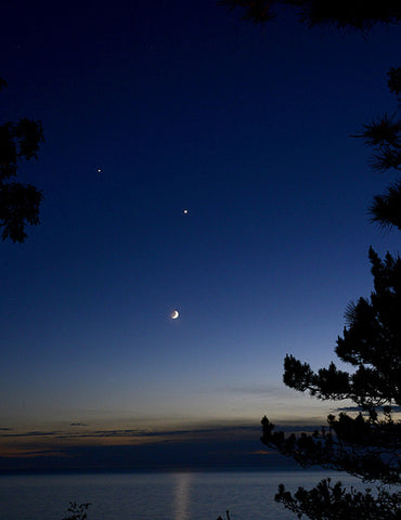 """Crescent Moon, Venus and Jupiter"""