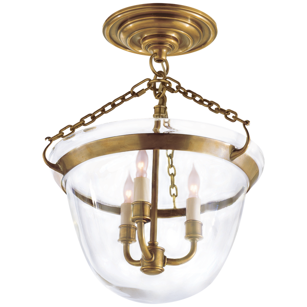 Country Semi-Flush Bell Jar Lantern