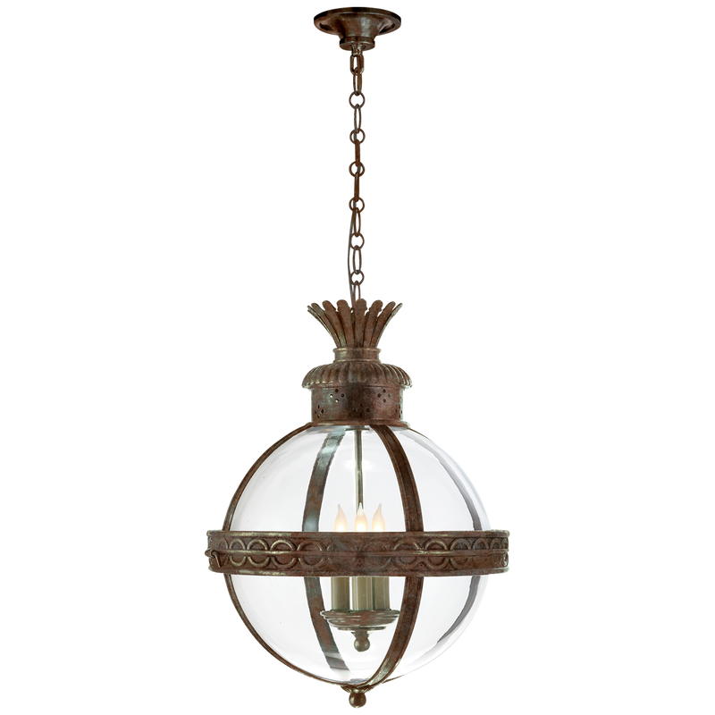 Crown Top Banded Globe Lantern