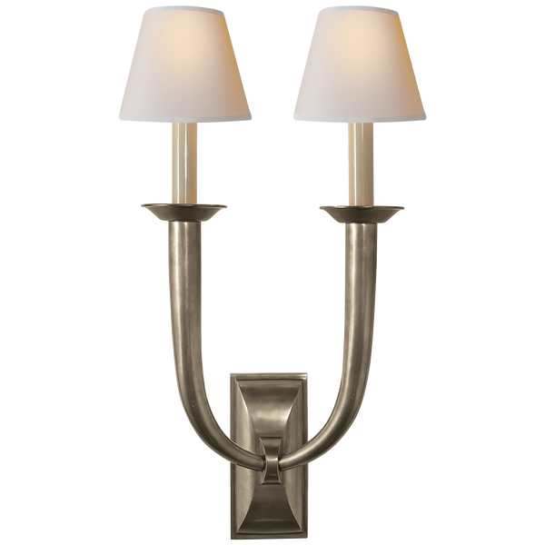 French Deco Horn Double Sconce