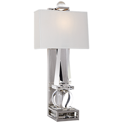 Paladin Tall Obelisk Sconce in Crystal and Polished Nickel with Natural Percale Shade