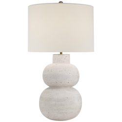 Merlat Table Lamp in Limestone with Linen Shade