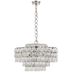 Liscia Chandelier in Polished Nickel with Crystal