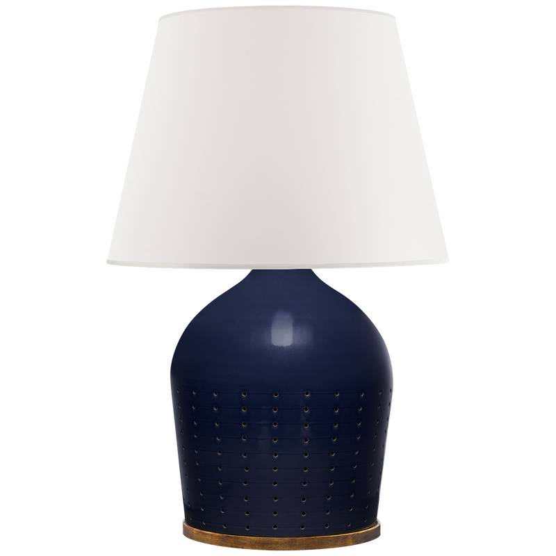Halifax Large Table Lamp in Blue Celadon with White Paper Shade