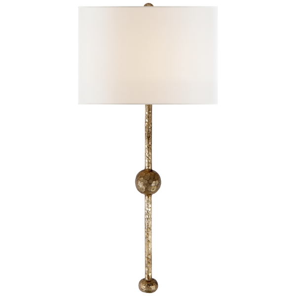 Carey Rail Sconce in Gilded Iron with Linen Shade