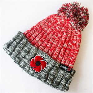 RED/GREY KNITTED POPPY TOQUE