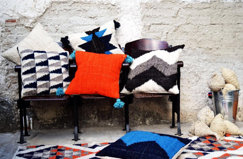 The Mayan Store Meso Wool Fair Trade Pillows Guatemala Graphic