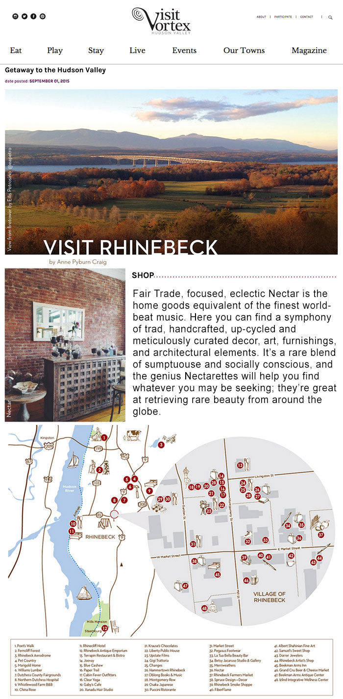 VISIT VORTEX RHINBECK NY NECTAR NEW YORK UPSTATE NY SHOPPING BOUTIQUE FAIR TRADE