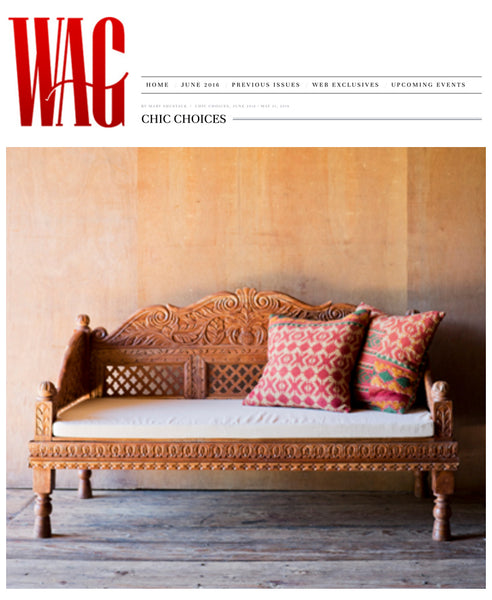 WAG Magazine Features Nectar's Ornately Carved Indian Bench