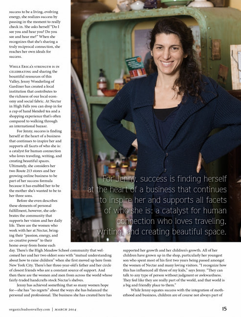 Nectar's Owner Jenny Wonderling in Organic Hudson Valley Magazine