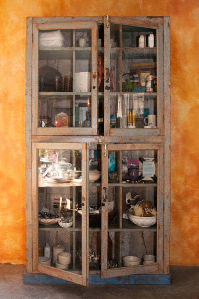 Massive Vintage Wood and Glass Hutch - Cabinets - Shop Nectar - 1